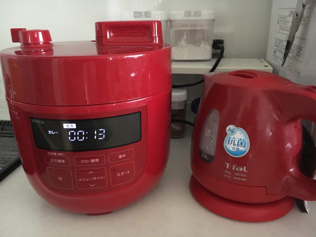 シロカの電気圧力鍋と電気ケトルとの比較